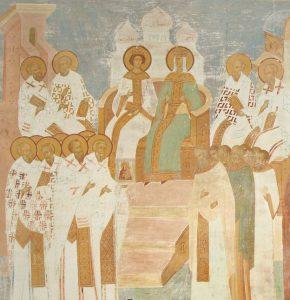 XV w. fresk przedstawiający cesarzową Irenę i jej syna Konstantyna VI w trakcie obrad Soboru nicejskiego II