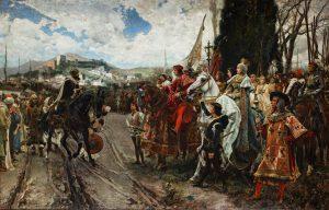 Izabela Kastylijska i Ferdynand Aragoński przyjmują kapitulację Grenady