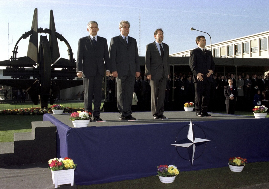 16th March 1999 - NATO HQ Brussels Ceremony to mark the Accession of the Czech Republic, Hungary and Poland to the North Atlantic Treaty. Left to right: Mr. A. Buzek (Prime Minister, Poland); Mr. M. Zeman (Prime Minister, Czech Republic); NATO Secretary General Dr. J. Solana; Mr. V. Orban (Prime Minister, Hungary).