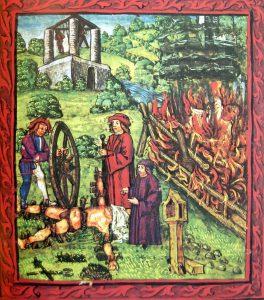 W tle ryciny murowana szubienica z XV wieku w Lucernie.