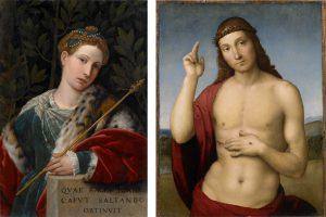 od lewej: Alessandro Bonvicino zw. Moretto, Portret damy jako Salome i chrystus' Rafael Santi, Chrystus błogosławiący