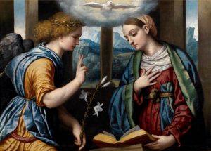 Alessandro Bonvicino zw. Moretto, Zwiastowanie, ok 1535–1540