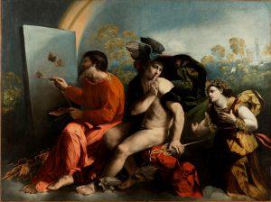 Dosso Dossi, Jowisz malujący motyle, Merkury i Cnota