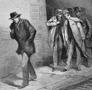 """Ze Strażą Obywatelską w East Endzie: Podejrzany osobnik z gazety """"The Illustrated London News"""" z 12 października 1888"""