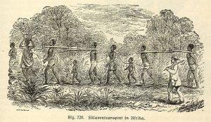 Rycina z XIX w. przedstawiająca transport niewolników
