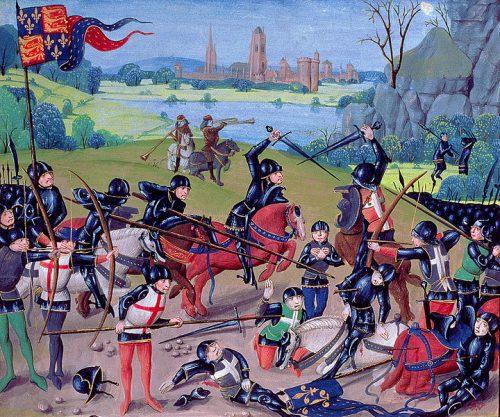 Bitwa pod Azincourt, miniatura z XV wieku