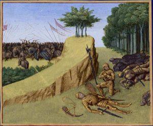 Śmierć Rolanda w bitwie pod Roncevaux, ilustracja z manuskryptu, ok. 1455-1460