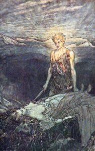 Zygfryd budzi śpiącą Brunhildę. Ilustracja do Pierścienia Nibelunga. Arthur Rackham, 1911