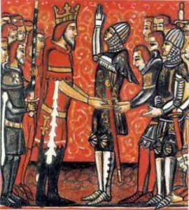 Karol Wielki pasuje Rolanda na rycerza
