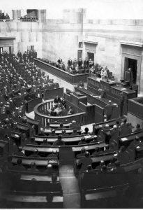 Otwarcie sesji sejmowej przez marszałka Polski Józefa Piłsudskiego w Warszawie