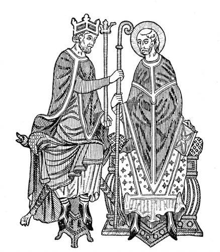 Średniowieczny król nadający biskupowi symbole urzędu